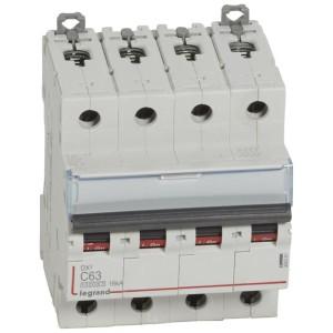 Disjoncteur DX³ 10000 - 16kA - 4P - 400V~ - 63A - courbe C - 4 modules LEGRAND