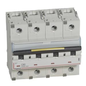 Disjoncteur DX³ 10000 - 16kA - 4P - 400V~ - 80A - courbe C - 6 modules LEGRAND