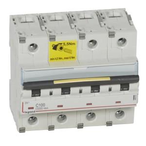 Disjoncteur DX³ 10000 - 16kA - 4P - 400V~ - 100A - courbe C - 6 modules LEGRAND