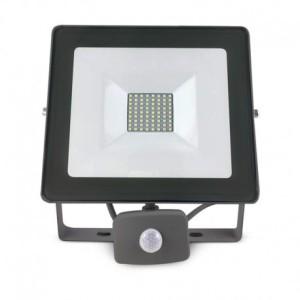 Projecteur extérieur LED plat gris avec détecteur 50W 6000°K VISION EL
