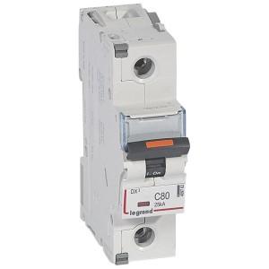 Disjoncteur DX³ 25kA - 1P 230V~ à 400V~ - 80A - courbe C - 1,5 module LEGRAND