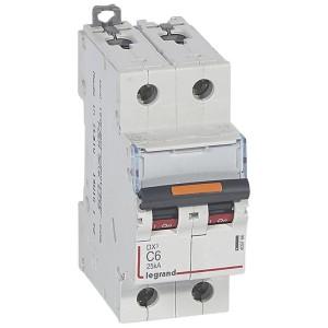 Disjoncteur DX³ 25kA - 2P 230V~ à 400V~ - 6A - courbe C - 2 modules LEGRAND