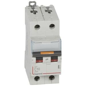 Disjoncteur DX³ 25kA - 2P 230V~ à 400V~ - 10A - courbe C - 2 modules LEGRAND