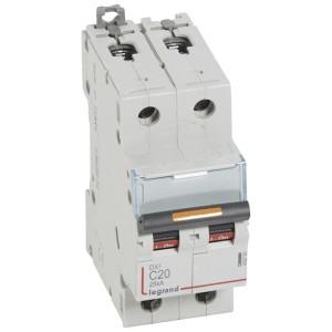 Disjoncteur DX³ 25kA - 2P 230V~ à 400V~ - 20A - courbe C - 2 modules LEGRAND
