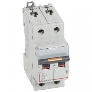 Disjoncteur DX³ 25kA - 2P 230V~ à 400V~ - 25A - courbe C - 2 modules LEGRAND