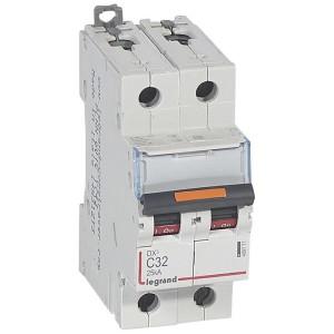 Disjoncteur DX³ 25kA - 2P 230V~ à 400V~ - 32A - courbe C - 2 modules LEGRAND