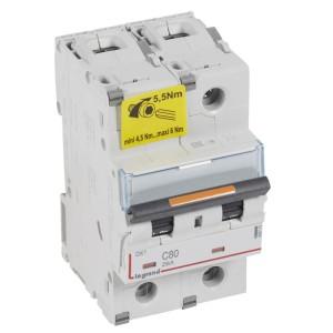 Disjoncteur DX³ 25kA - 2P 230V~ à 400V~ - 80A - courbe C - 3 modules LEGRAND