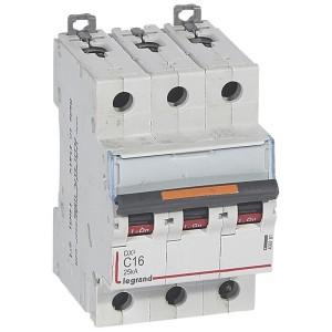 Disjoncteur DX³ 25kA - 3P 400V~ - 16A - courbe C - 3 modules LEGRAND