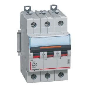 Disjoncteur DX³ 25kA - 3P 400V~ - 20A - courbe C - 3 modules LEGRAND