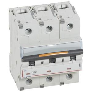 Disjoncteur DX³ 25kA - 3P 400V~ - 80A - courbe C - 4,5 modules LEGRAND