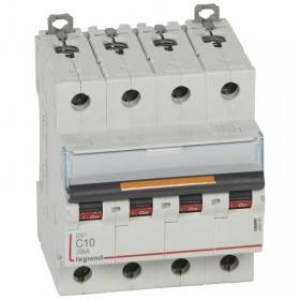 Disjoncteur DX³ 25kA - 4P 400V~ - 10A - courbe C - 4 modules LEGRAND