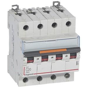 Disjoncteur DX³ 25kA - 4P 400V~ - 20A - courbe C - 4 modules LEGRAND