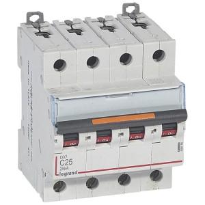 Disjoncteur DX³ 25kA - 4P 400V~ - 25A - courbe C - 4 modules LEGRAND