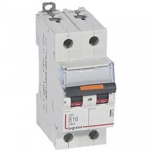 Disjoncteur DX³ 25kA - 2P 230V~ à 400V~ - 16A - courbe B - 2 modules LEGRAND