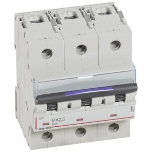Disjoncteur magnétique seul DX³-M 50kA - 3P 400V~ - 2,5A - 4,5 modules LEGRAND