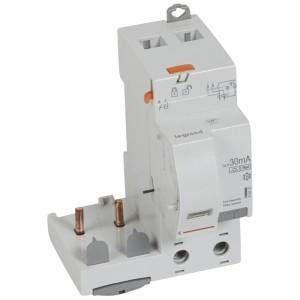 Bloc différentiel adaptable DX3 2P 230V~ - 63A - typeF 30mA - pour disj 1 module/pôle LEGRAND