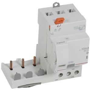 Bloc différentiel adaptable DX3 3P 400V~ - 63A - typeAC 300mA sélectif - pour disj 1 module/pôle LEGRAND