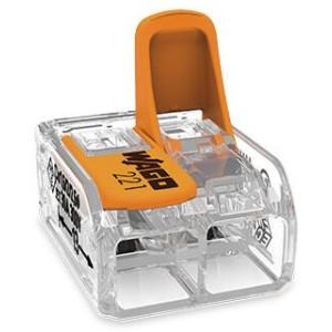 Mini borne WAGO pour 2 conducteurs, 6mm², avec leviers de manipulation - Boite de 50 WAGO