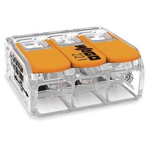Mini borne WAGO pour 3 conducteurs, 6mm², avec leviers de manipulation - Boite de 30 WAGO
