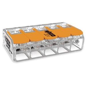 Mini borne WAGO pour 5 conducteurs, 6mm², avec leviers de manipulation - Boite de 15 WAGO