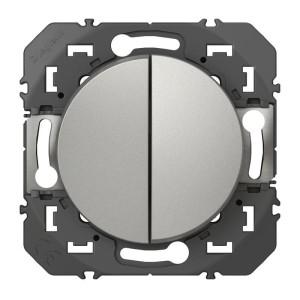 Double interrupteur ou va-et-vient DOOXIE 10AX 250V~ finition alu LEGRAND
