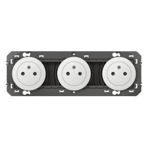 Triple prise de courant 2P+T Surface DOOXIE 16A précâblées finition blanc LEGRAND