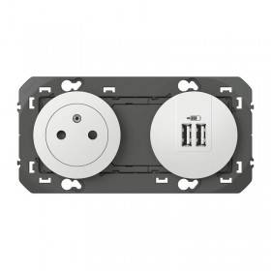 Prise de courant 2P+T Surface + chargeur 2 USB Type-A DOOXIE 3A précâblés finition blanc LEGRAND