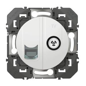 Prise TV + RJ45 catégorie 6 STP compacte DOOXIE finition blanc LEGRAND
