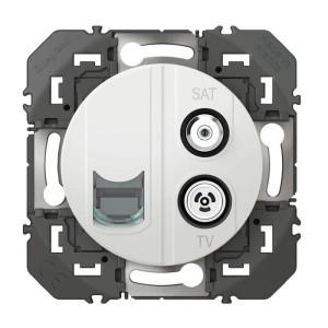 Prise TV-SAT + RJ45 cat6 STP compacte dooxie finition blanc LEGRAND