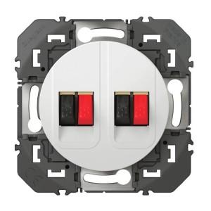 Prise haut-parleur double DOOXIE finition blanc LEGRAND