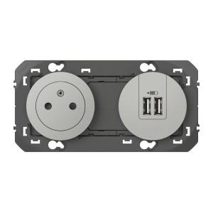 Prise de courant 2P+T surface + chargeur 2 USB Type-A DOOXIE 3A pré-câblés finition alu LEGRAND