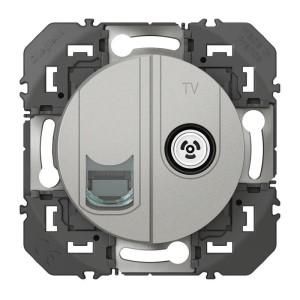 Prise TV + RJ45 catégorie 6 STP compacte DOOXIE finition alu LEGRAND