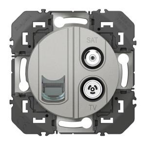 Prise TV-SAT + RJ45 catégorie 6 STP compacte DOOXIE finition alu LEGRAND