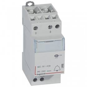 Transformateur pour sonnerie 230V vers 8 V - 4VA - 2 modules LEGRAND