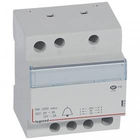 Transformateur pour sonnerie 230V vers 12V ou 8V - 24VA - 4 modules LEGRAND