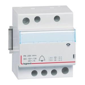 Transformateur pour sonnerie 230V vers 24V à 12V - 24VA à 18 VA - 4 modules LEGRAND