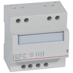 Alimentation monophasée redressée filtrée 230V~ 15V - 15 W - 1A - 5 modules LEGRAND