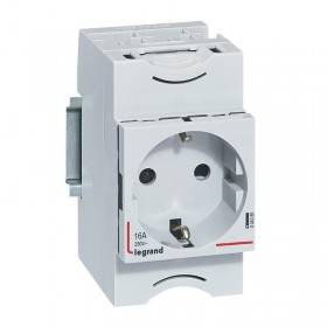 Prise de courant modulaire 10A à 16A 250V~ - 2P+T à éclips standard allemand - 2,5 modules LEGRAND
