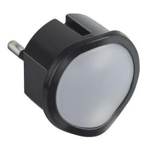 Veilleuse lampe torche avec batterie avec 2 LEDs haute luminosité et fiche 2P 10A - noir LEGRAND