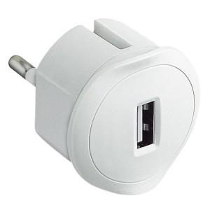 Chargeur USB 5V 1,5A maximum avec fiche 2P 10A et encombrement réduit - blanc LEGRAND