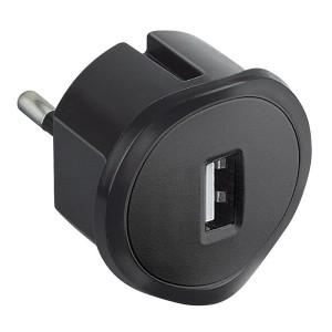 Chargeur USB 5V 1,5A maximum avec fiche 2P 10A et encombrement réduit - noir LEGRAND