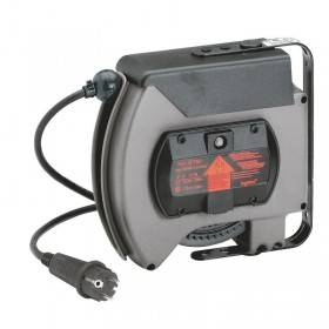 Enrouleur à rappel automatique avec socle mobile 2P+T équipé d'un bouchon brochage domestique et 10m de câble 3G 1,5mm² LEGRAND