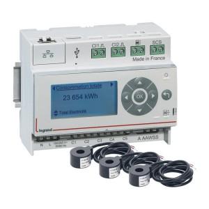 Pack Ecocompteur modulaire IP composé d'un écocompteur référence 412000 et de 3 tores fermés 60A référence 412004 LEGRAND