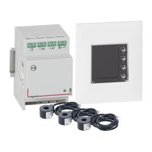 Pack Ecocompteur modulaire standard 110V~ à 230V~ 3 modules + 3 tores fermés 60A + écran 1,6pouces Espace Evolution LEGRAND