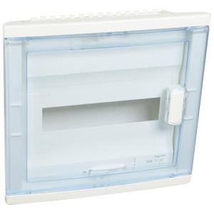 Coffret encastré 1 rangée 12+2 modules - avec porte isolante galbée transparente LEGRAND