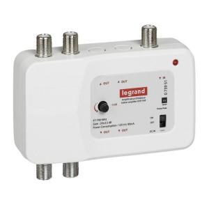 Amplificateur TV UHF et VHF 792MHz 1 entrée 4 sorties compatible TNT et télévision haute définition LEGRAND