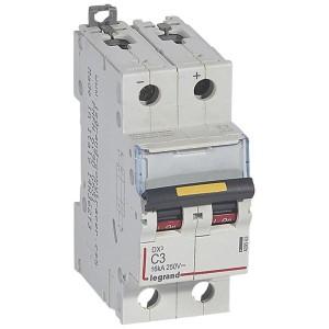 Disjoncteur DX³ 16kA courant continu 3A courbe C - 2 modules LEGRAND