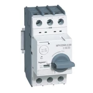 Disjoncteur moteur magnétique seul MPX3 32MA 1,6A - pouvoir de coupure 100kA en 415V LEGRAND
