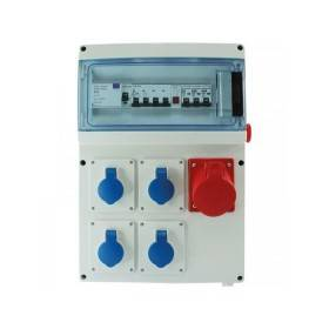 Coffret de chantier triphasé 4 PC - 230V - 16 A + 1 PC 3P+N+T - 400V - 32 A EUR'OHM