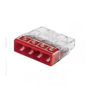 Bornes de connexion rapide - 4 entrées - Rouge - Boite de 100 EUR'OHM